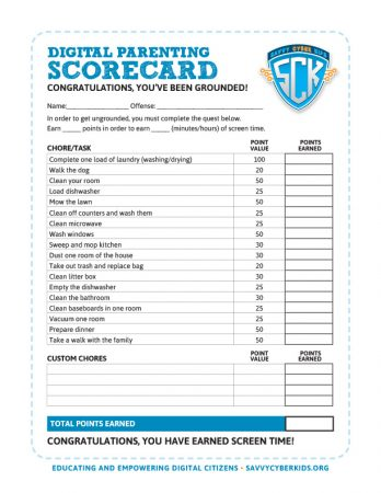 Digital Parenting Scorecard - Grounded