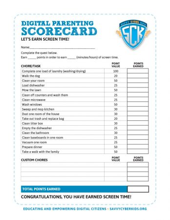 Digital Parenting Scorecard - Screen Time